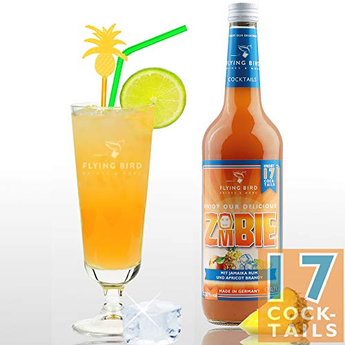 Zombie 28% Vol. | Premix, Fertig Mix für 17 Cocktails mit Alkohol | Flasche 0,7 l mit allen Zutaten | Einfach mit Ananassaft mixen