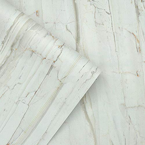 QIMAY Marble Contact Paper Embossed Wallpaper Peel and Stick Kitchen Countertop Cabinet Backsplash Self Adhesive Decorative Paper Waterproof Removable Wallpaper Vinyl Film Roll 17.7