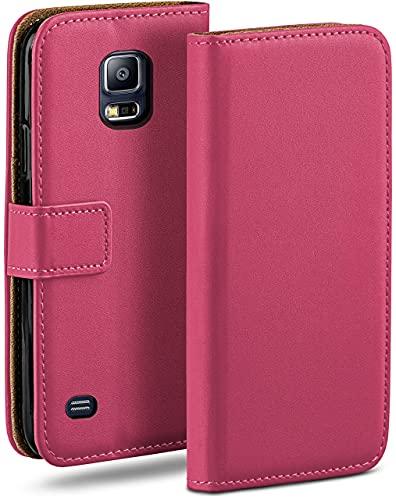 moex Klapphülle für Samsung Galaxy S5 / S5 Neo Hülle klappbar, Handyhülle mit Kartenfach, 360 Grad Schutzhülle zum klappen, Flip Hülle Book Cover, Vegan Leder Handytasche, Pink
