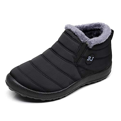 Women Warm Ankle Snow Boots Fur Lining Thickening Slip On Winter Shoes Black US 7(39)