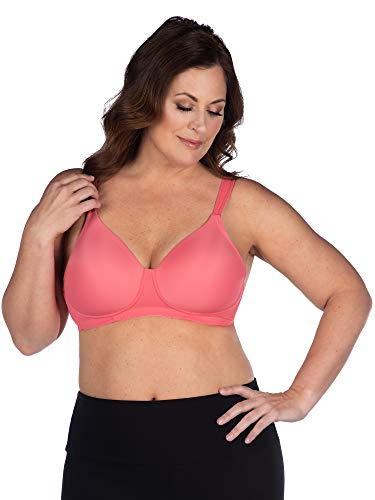 LEADING LADY Women's Plus-Size Wireless Padded T-Shirt Bra, Sun Kissed Coral, 50D