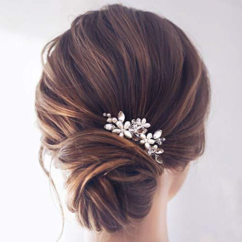 Einfach Braut Kristall Hochzeit Haarnadeln Silber Haarspangen Braut Kopfschmuck Haarschmuck Perle für Frauen und Mädchen (Roségold)