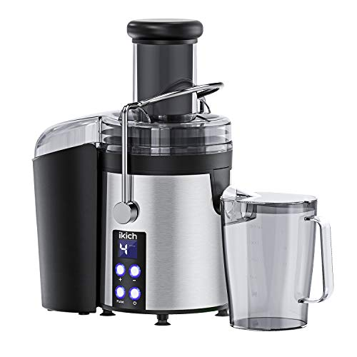 IKICH Centrifugal Juicer 4 Speed Juice Extractor Creates More Juice and High Nutrient, Digital Display Juicer Maker Real 3'' Feeder Chute Juicer Machine with 16oz Portable Bottle and Recipes