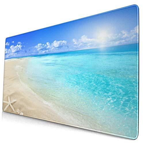 Grande Juego de Azar Alfombrilla de Ratón-75 x 40cm,Tranquila playa de paisaje marino de la isla de Seychelles con una ex,Alfombrilla de Teclado para el Cojín de Escritorio de la Computadora Portátil