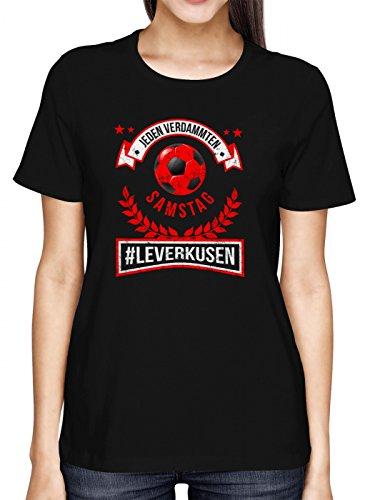 Leverkusen #1 Premium T-Shirt | Fussball | Fan-Trikot | #Jeden-Verdammten-Samstag | Frauen | Shirt, Farbe:Schwarz (Deep Black L191);Größe:S