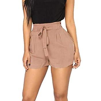 Memela Palazzo Pants,Women Retro Casual Fit Elastic Waist Pocket Shorts Pants High Waist String Pant  Khaki S