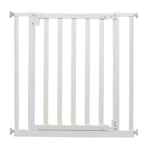 Roba 1547W - Türschutzgitter, Holz/Metall, weiß, Verstellbreite 77-86 cm, Gesamthöhe 76.5 cm, erweiterbar durch Anbauteile