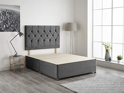 Bed Centre Charcoal Plush Velvet Fabric Divan Base Plus Matching Headboard and 2 Drawers 3ft 4ft 4ft6 5ft 6ft (4FT6 (DOUBLE))