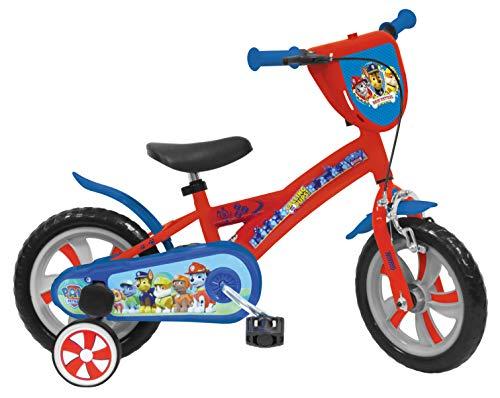 Mondo Toys - Bici Mod. PAW PATROL per bambino / bambina - misura 12'' - rotelle e freno anteriore - colore rosso / blu - 25440