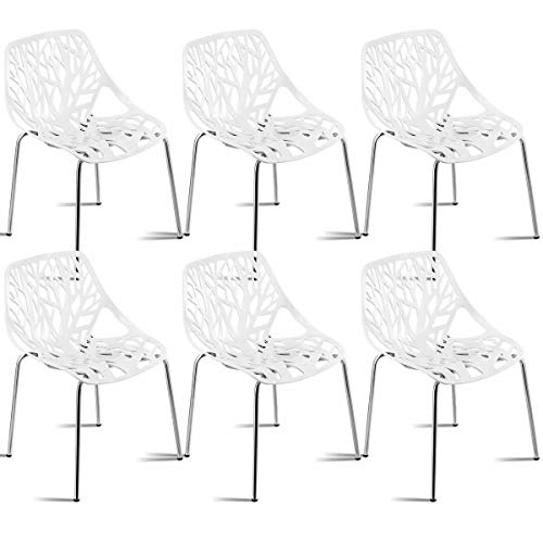 Giantex Set of 6 Modern Dining Chairs w/Plastic Feet Pads Stackable Chair Geometric Style Furniture Dining Side Chairs (6 Packs, White)