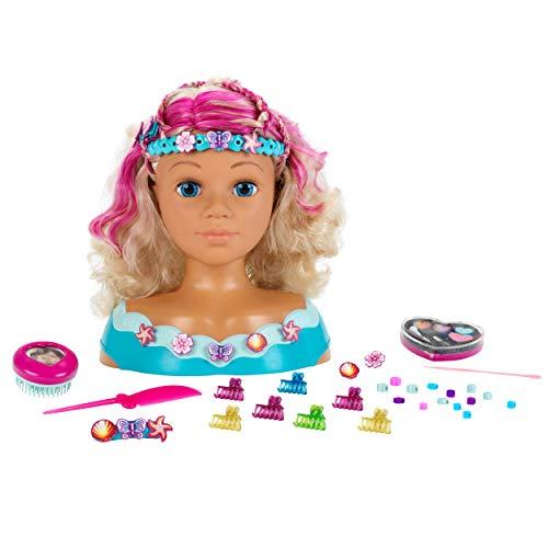 Theo Klein 5398 Princess Coralie Styling Head Mariella, Schminkkopf, Frisierkopf inklusive Kosmetik und Zubehör