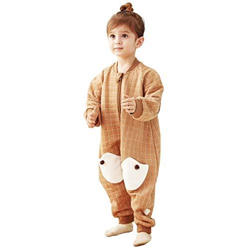 Neutral Swaddle Blanket Baby Sleeping Bag Split Leg Sleeping Bag Cotton Child Anti-Kick Is Four Seasons Air-Conditioned Room Detachable Half Sleeve@Brown_95Cm Child Comfort Quilt