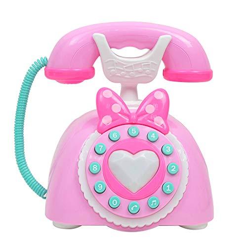 B Blesiya Juguete de Teléfono Retro Multifuncional Juego de Educación Temprana para Niños Niñas - Rosado