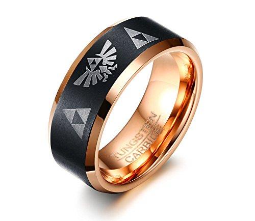 VNOX 8mm Hartmetall die Legende von Zelda Triforce Ring Hochzeit Engagement Band für Männer,Black Rose Gold