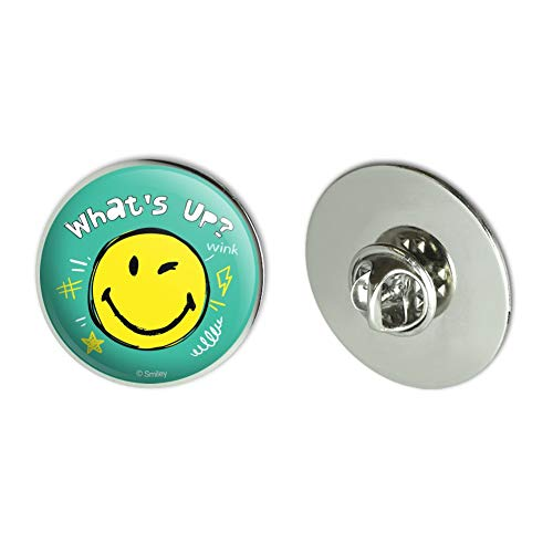 GRAPHICS & MORE What's Up Winky Smiley Face Emoticon Officially Licensed Metal 1.1' Tie Tack Hat Lapel Pin Pinback