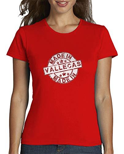 latostadora - Camiseta Made In Vallecas para Mujer Rojo S