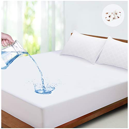 LUTE Waterproof Mattress Protector, Hypoallergenic Cotton Terry Towel Mattress Cover Cooling, Against Dust Mite & Bacteria, Fitted Extra Deep Breathable Bed Mattress Protector (Double, 135x190 cm)