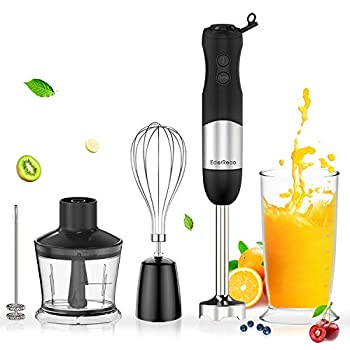 EdorReco 5-in-1 Immersion Hand Blender 4-Point Stainless Steel Blade 600W Motor BPA-free & Dishwasher-safe Attachments  Milk Frother Whisk 20oz Measuring Cup & 17oz Chopper Corded