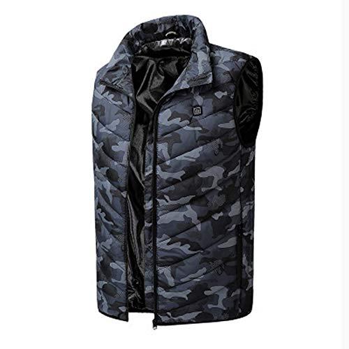 Frauen Männer beheizte Weste, elektrische Heizung kältesichere Jacke, USB-Ladetemperatur einstellbare Gilets, für das Winter-Skifahren Motorradwandern Angeln (Farbe: Tarnfarbe, Größe: XX-Lar