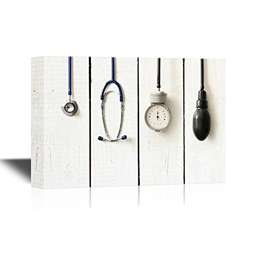 wall26 - Canvas Wall Art - Medical Apparatus and Instruments on Wood Style Background - Gallery Wrap Modern Home Art | Ready to Hang - 24x36 inches