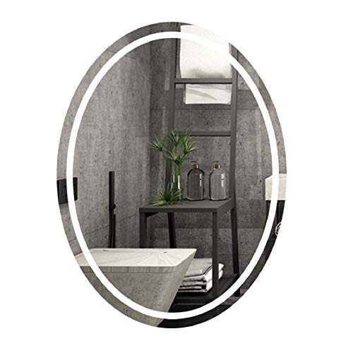 YSJX 500mm×700mm Oval LED Badezimmerspiegel Badspiegel mit Beleuchtung Beleuchtet Wandspiegel mit Touch Schalter,Einstellbare Kaltweiß/Warmweiß,Horizontal,Vertikal,700mm × 900mm,600mm × 800mm