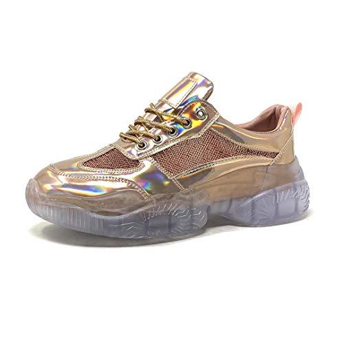 Angkorly - Chaussure Mode Baskets Basse Grosse Plateforme Streetwear Femme Effet holographique écailles Transparent PVC plexiglass Talon Haut Bloc 5 CM - Rose Gold - 2019-A12 T 39