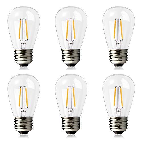 Brimax E27 LED Ersatzlampen S14 2W = 20W, 2700K Warmweiß, LED-Leuchtmittel Ersatzlampe für s14 Lichterketten oder Sputnik Kronleuchter Lampe E27 Außen und Innen,6 Stück