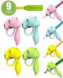 Agarre lapiz niños ergonomico,empuñadura de lápiz 8 en 1 y Topper de lápiz, dibujar, Uso para diestros o zurdos - Reutilizable