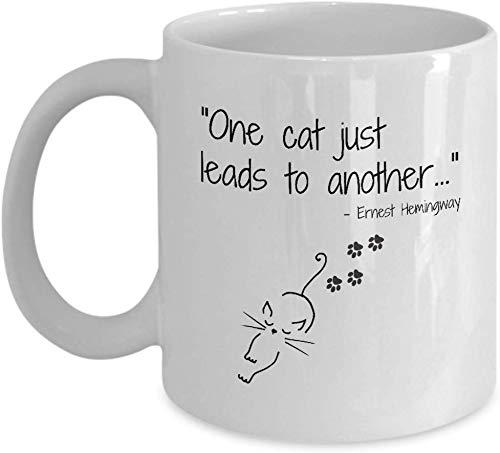 Rael Esthe Taza Divertida del Gato, Cita de Ernest Hemingway, Regalo para la Gente del Gato, Taza de café de la señora del Gato