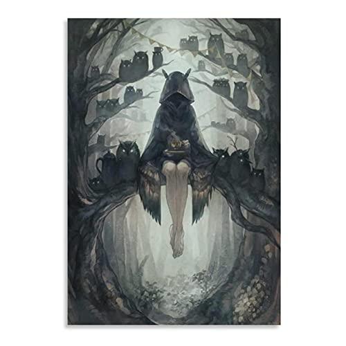 Tiiiytu Carteles E Impresiones De Fantasía Oscura Lienzo Arte De Pared Cuadros De Pintura Impresos para Regalo De Decoración del Hogar-50X70 Cm Sin Marco