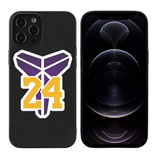 Phone Case for iPhone 12, High Impact Silicone TPU Shockproof Full Protection Phone Cover, Compatible with Case iPhone 12Pro Black-Lakers-Pattern 02