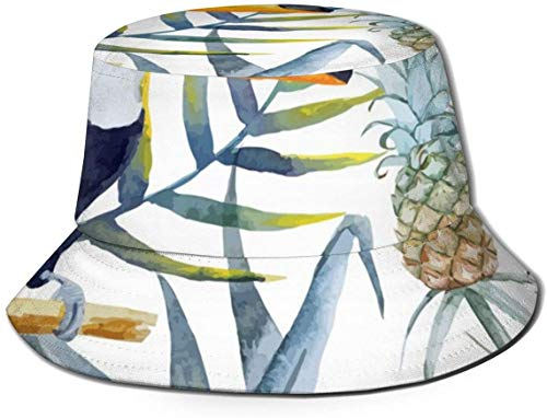 BONRI Sombreros de Cubo Transpirables con Parte Superior Plana Unisex Zebra Caballo Música Piano Sombrero de Cubo Sombrero de Pescador de Verano-Tucán Aves Piña Arte-Talla única