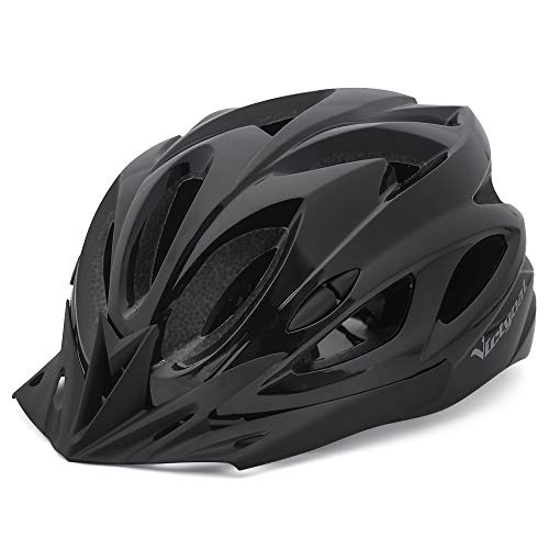 VICTGOAL Fahrradhelm für Herren Damen Mountainbike Helm mit Abnehmbares Visier LED Rücklicht Leichte MTB Helm für Radfahrer (Schwarz)