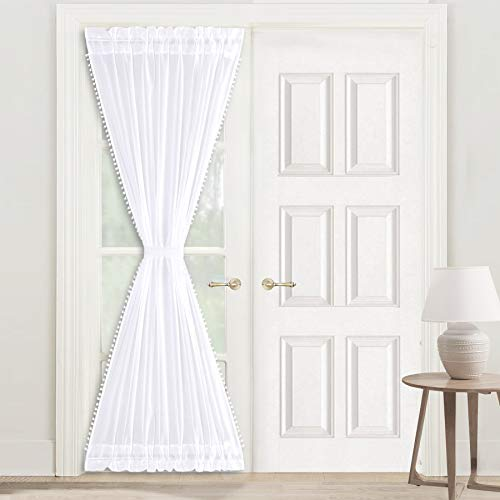 DriftAway Laura Pom Pom Trimmed Solid Sheer Door Curtain Single Curtain with Adjustable Tieback Each Size 52 Inch by 72 Inch White
