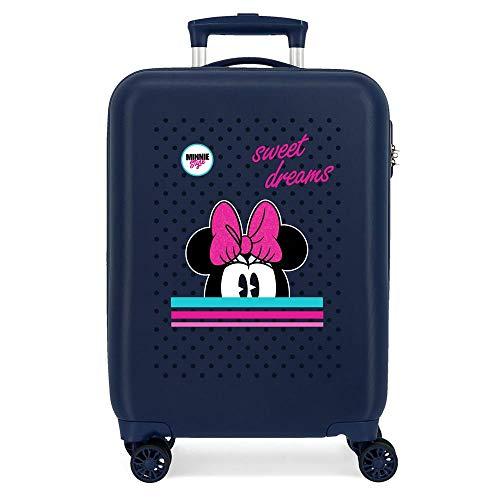 Disney Sweet Dreams Minnie Maleta de Cabina Azul 38x55x20 cms Rígida ABS Cierre combinación 34L 2,6Kgs 4 Ruedas Dobles Equipaje de Mano