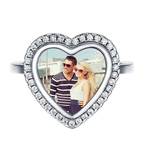 SILVERCUTE personalisierter Ring 925 Sterlingsilber offener Ring Herz Form verstellbar Ring Foto anpassbar mit Zirkonia dekoriert Jahrestag Valentinstag Muttertag