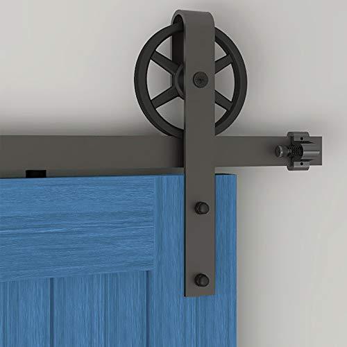 182cm/6FT Schiebetürbeschlag Set Schiebetürsystem Zubehörteil für Schiebetüren Innentüren, Schwarz/Sliding Barn Door Hardware Kit Big Spoke Wheel