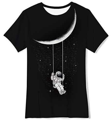 AIDEAONE Camisetas de Verano para niños niñas Astronauta tee de 6 a 8 años (S)