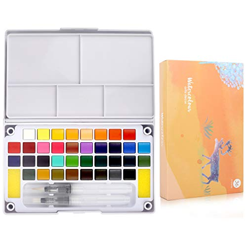Watercolor Paint Set 36 Solid Colors Travel Pocket Set with 2 Watercolor Brush Pens 2 Mix Palette for Watercolor Paintings & Cartoons Perfect for Beginners, Kids & Students Art Supplies