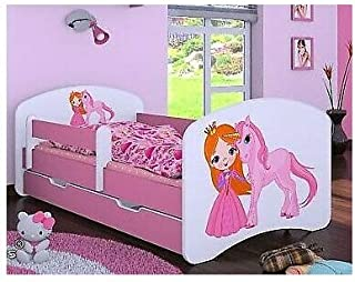 HB barnsäng med madrass och sänglåda olika varianter flicka rosa (160 x 80 cm, prinsessa med enhörning)