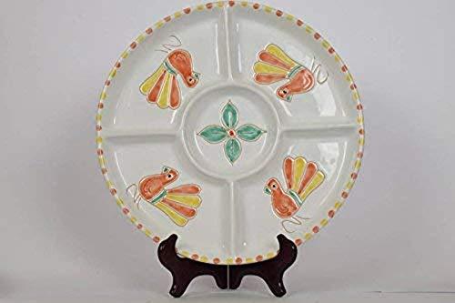 Antipastiera in Ceramica, 5 scomparti - Decorazione Pavoncella lucida color salmone