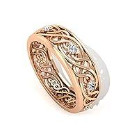 IGI認定ダイヤモンドフィリグリーバンドリング HI-SI カラークラリティゴールドエタニティリング積み重ね可能ワイドバンド女性用リングツイストプロミスリング婚約指輪, 14K ローズゴールド, Size: 6