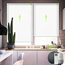 Yoolax Motorized Blinds for Window with Remote, Smart Shades Work with Alexa Google Home 50% Blackout, Automatic Electric Roller Shades Customize Size for Living Room (Jacquard White)