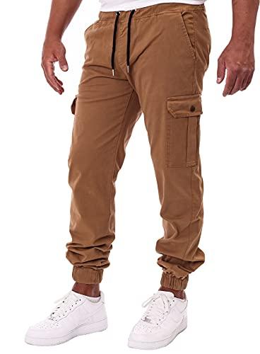 Reslad Chinohose Herren Jogging Jeans Chino Freizeithose Cargo-Hose Jogginghose RS-2084 Beige W38