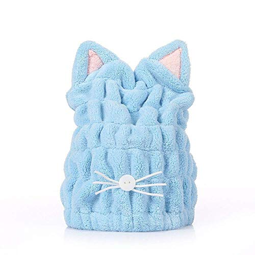 2Psc - Gorro de ducha para el pelo de la niña, transpirable, turbante de pelo de microfibra, secado rápido, toalla sombreros para mujeres, sauna, accesorios de baño [azul]