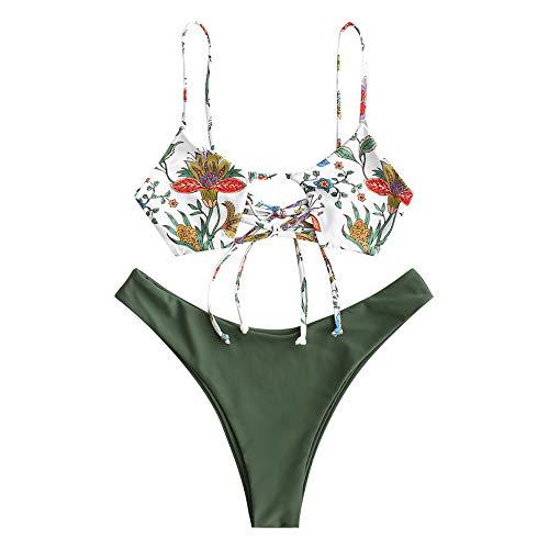 ZAFUL Costume da bagno da donna con spalline floreali, Verde 3, M
