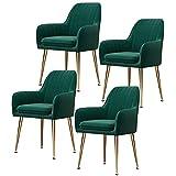 N&O 6er Set Samt Esszimmerstuhl mit Rückenkissen Gold Metallbeine Esszimmerstuhl Einfachheit Moderner Polsterakzent Schreibtischstuhl Für Home Office (Farbe Gelb)