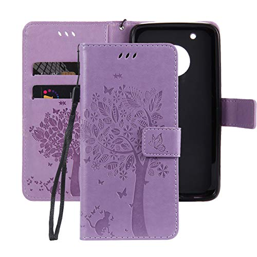 Ropigo Emboss Tree Cat Flowers Wallet Case for Motorola Moto G5 Plus G5+ Flip Leather Protective Case with Wrist Strap,Magnetic Closure,Credit Card Slots Holder,Kickstand Function Purple