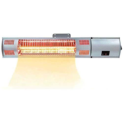 LOVEHOUGE Calentador eléctrico para patio, calentador radiante infrarrojo montado en la pared de 1500 W con control remoto, impermeable, calentador de espacio súper silencioso
