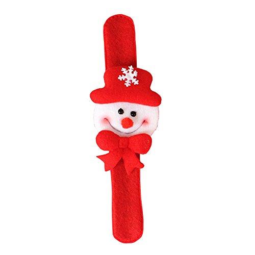 CFPacrobaticS Navidad Snap Slap On Santa Claus Snowman Reno Oso Pulsera Pulsera Ajustable Niños Niños Regalo Monigote de Nieve